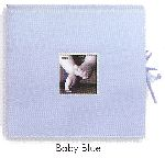 Pioneer SBX-12B Baby Blue Sewn Scrapbook Box with Ribbon Closure for Baby Pictures