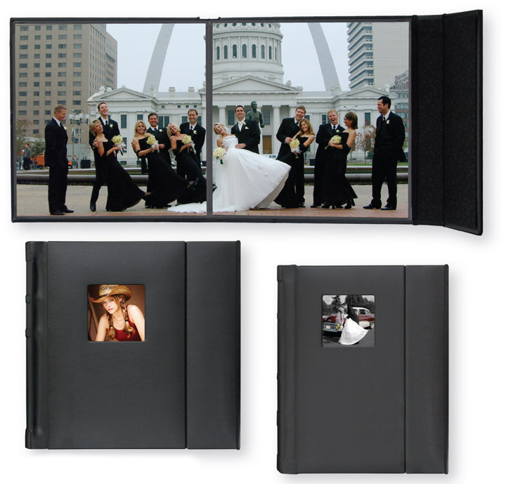 8x10 Wedding Albums: TAP Valencia 10x10 Library Bound Black Simulated Leather