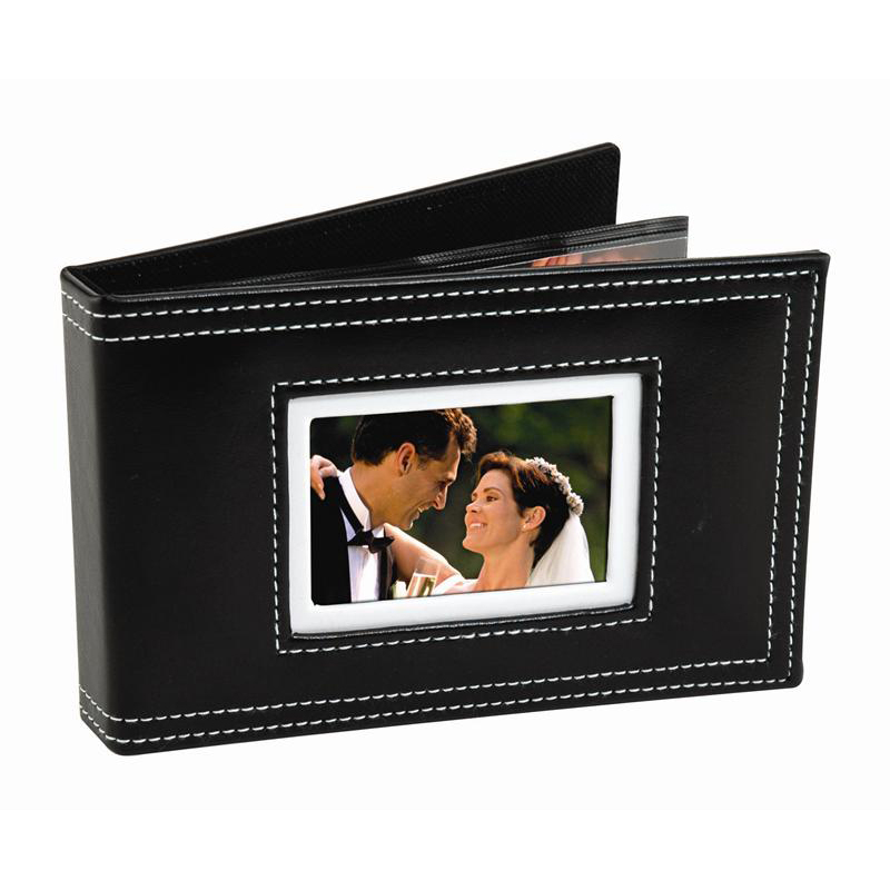 white stitch photo album with cover strap for 24 6 x4 pictures 6132. Black Bedroom Furniture Sets. Home Design Ideas