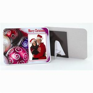 Puff Picture Frame Merry Christmas Easel Magnetic Back for 2-1/2