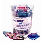 Keychains for Kids 5984 - Bucket Assorted Translucent Sparkle Keychain Bucket of 60 Prepacked