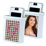 White Photo Cell Phone Holder with Picture or Embroidery Insert #7280