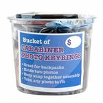 A Bucket of 24 Carabiner Photo Keychains for Backpacks Teams Sports Clubs