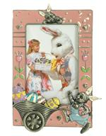 Easter Bunny with Eggs 4x6 Pewter Photo Frame