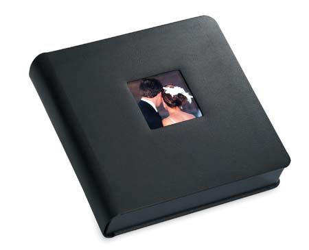 Renaissance Professional Wedding Albums Black Library Bound Wedding Photo Albums With Black Gilded Edges And 4x4 Square Window