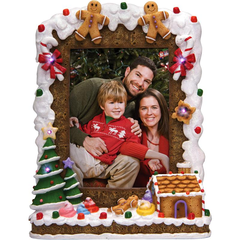 Lighted Christmas Tree Holiday Resin 4x6 Photo Frame With Ginger