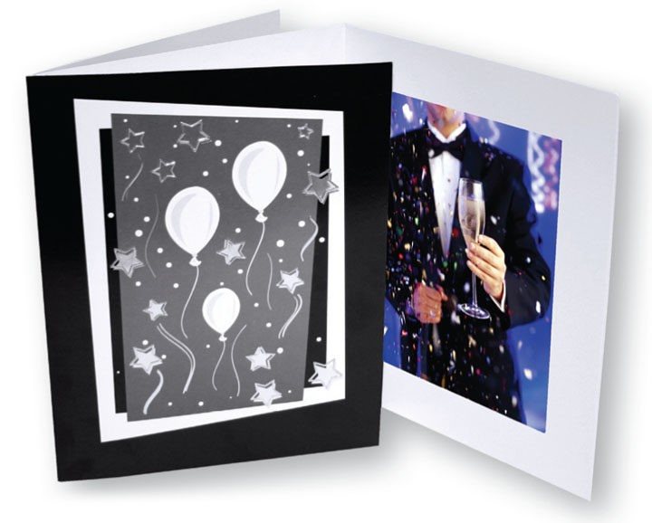 Tap Confetti Folders Dance Photo Mounts Black Silver For 4x6 Or 5x7