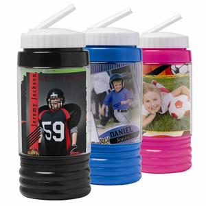 15 Once Sports Photo Water Bottle in Black, Blue, or Hot Pink #574