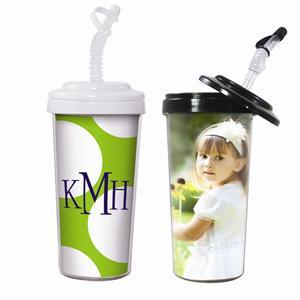 20 oz. Custom Photo Travel Tumbler with Bendy Straw and Locking Lid