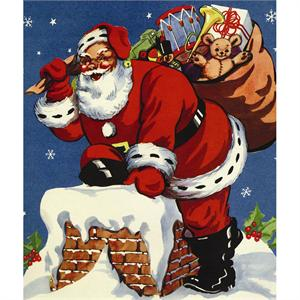 Santa Folder 4x6 Paper Frame with Santa Claus Climbing Down the Chimney PF-3035