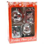 Christmas Ornament Decoration Gift Set with Bell Mini Snow Globe Refrigerator Magnet