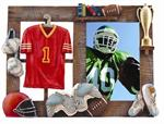 Sports 3-1/2x5 Resin Molded Football Digital Athletic Picture Frame