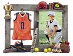Sports 3-1/2x5 Resin Molded Softball Digital Athletic Picture Frame